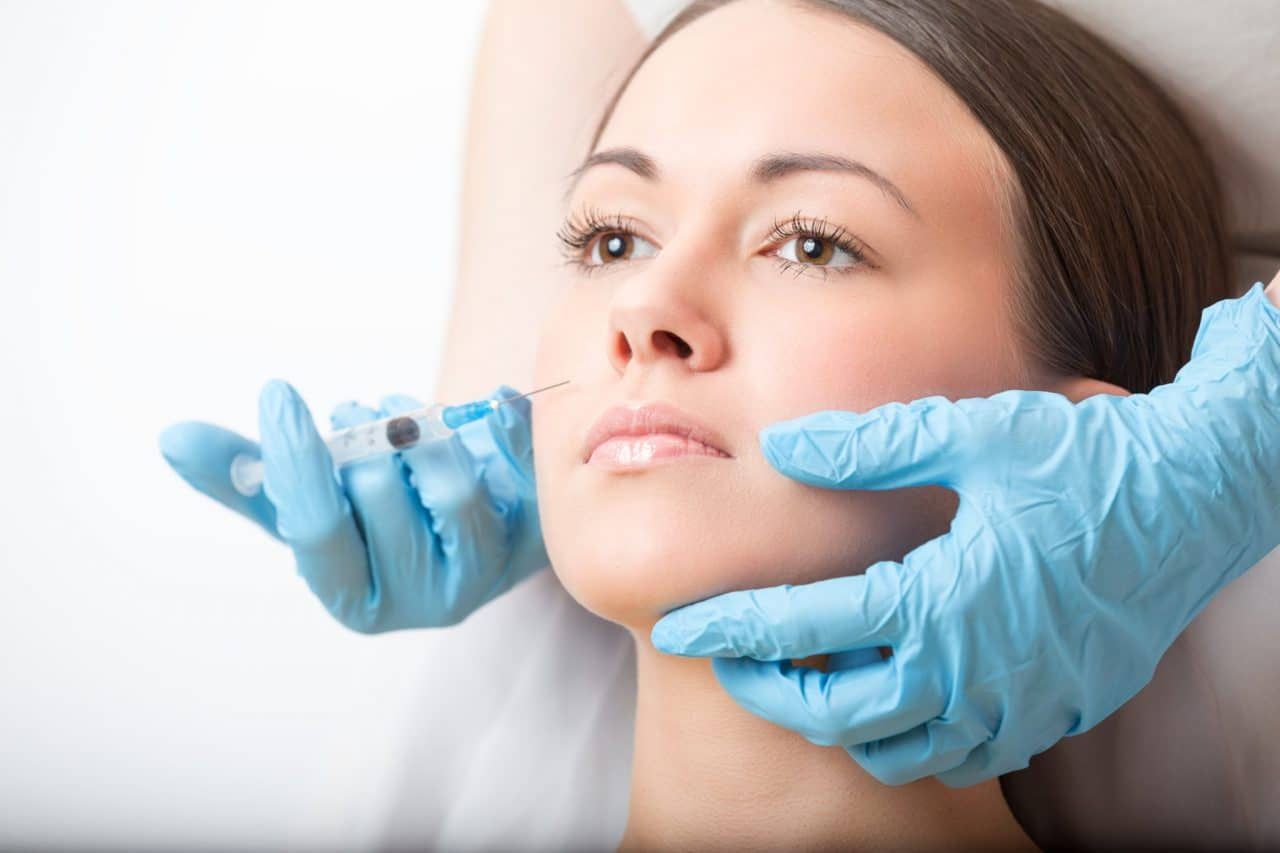 A person about to receive a facial injection